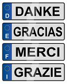 Four European union number plates spelling thank you poster