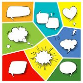 Speech popart elements. Comic cartoon shapes for dialogs thinking and talking on varicoloured backgrounds poster