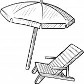 Doodle style beach chair and umbrella in vector format poster