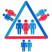 Schematic representation of polyamoric relations between three people. Polyamory conceptual illustration. poster