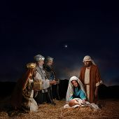 Christmas nativity scene with three Wise Men presenting gifts to baby Jesus Mary & Joseph poster