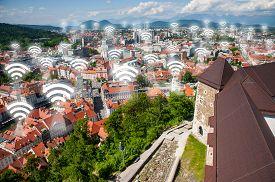 Wi-fi points, concept, Ljubljana, the capital of Slovenia
