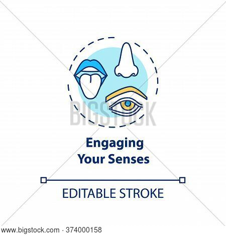 Engaging Your Senses Concept Icon. Mindful Eating Idea Thin Line Illustration. Savoring Meal. Paying