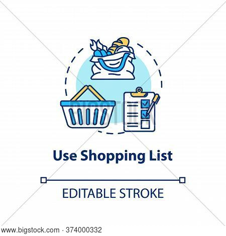 Use Shopping List Concept Icon. Mindful Eating, Consumerism Idea Thin Line Illustration. Avoiding Im