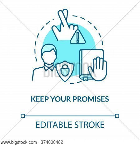 Keep Your Promises Concept Icon. People Secrets Keeping. Being Loyal, Dependable And Trustworthy Ide
