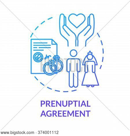 Prenuptial Agreement Blue Concept Icon. Aid With Alimony. Partner Commitment. Contract For Married C