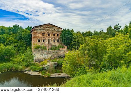 Country Side Summer Landscape Rural Scenic View With Rustic Unfinished Warehouse Brick Building In G