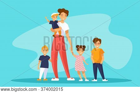 Nanny Babysitter With Group Of Kids Or Young Mother Of Many Children.