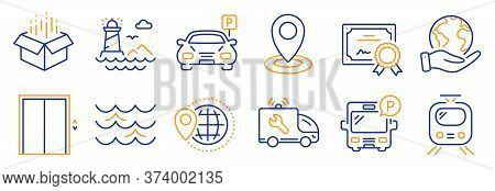 Set Of Transportation Icons, Such As World Travel, Open Box. Certificate, Save Planet. Location, Car