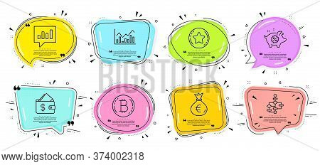 Money Bag, Loyalty Star And Bitcoin Signs. Speech Bubbles With Quotes. Piggy Sale, Wallet And Analyt