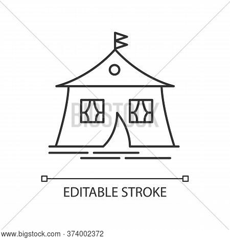 Marquee Tent Pixel Perfect Linear Icon. Camping. Arabic Tent. Housing Facility. Eastern Culture. Thi