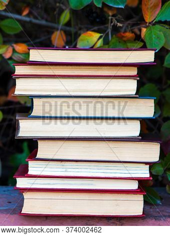Pile Of The Old Books On The Leaves Background Closeup