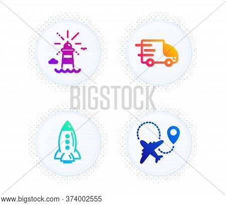Rocket, Truck Delivery And Lighthouse Icons Simple Set. Button With Halftone Dots. Airplane Sign. Sp