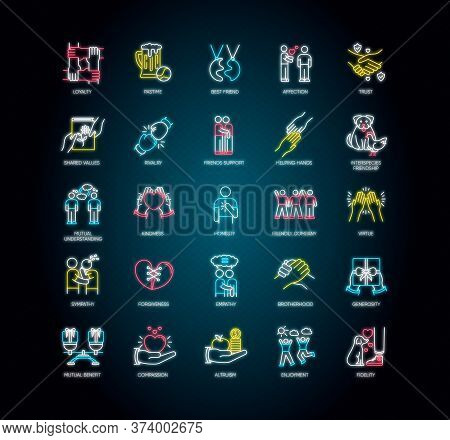 Friendly Relationship Neon Light Icons Set. Signs With Outer Glowing Effect. Friendship, Interperson