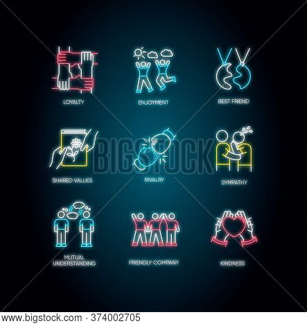 Friendship Neon Light Icons Set. Signs With Outer Glowing Effect. Emotional Affection, Interpersonal