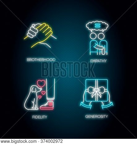 Friendly Bonds Neon Light Icons Set. Signs With Outer Glowing Effect. Strong Emotional Attachment, F