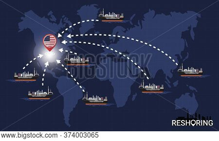 Reshoring Concept. Factories Companies Return To Usa. Self-sufficiency. Automated Supply Chain. Avoi