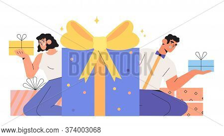Group Of Happy Smiling Business People Holding Gift Box And Celebrating Birthday Or Anniversary. Con