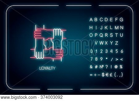 Loyalty Neon Light Icon. Outer Glowing Effect. Sign With Alphabet, Numbers And Symbols. Social Conne