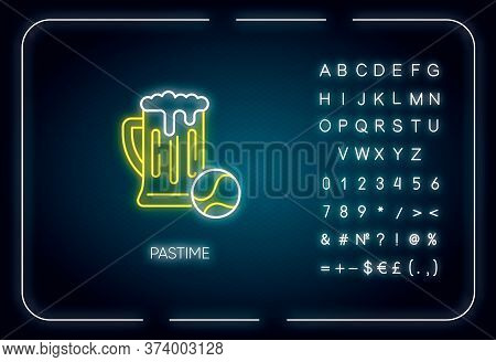 Pastime Neon Light Icon. Outer Glowing Effect. Sign With Alphabet, Numbers And Symbols. Leisure Acti