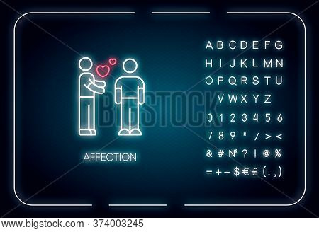 Affection Neon Light Icon. Outer Glowing Effect. Sign With Alphabet, Numbers And Symbols. Romantic F