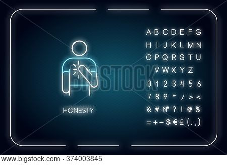 Honesty Neon Light Icon. Outer Glowing Effect. Sign With Alphabet, Numbers And Symbols. Truthfulness