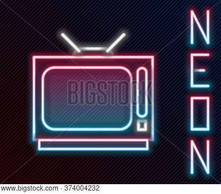 Glowing Neon Line Retro Tv Icon Isolated On Black Background. Television Sign. Colorful Outline Conc