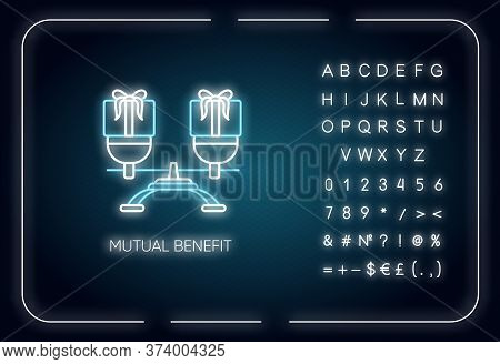Mutual Benefit Neon Light Icon. Outer Glowing Effect. Sign With Alphabet, Numbers And Symbols. Relat