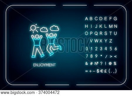 Enjoyment Neon Light Icon. Outer Glowing Effect. Sign With Alphabet, Numbers And Symbols. Friendship