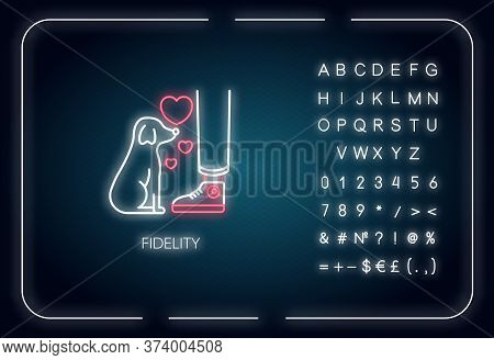 Fidelity Neon Light Icon. Outer Glowing Effect. Sign With Alphabet, Numbers And Symbols. Friendship