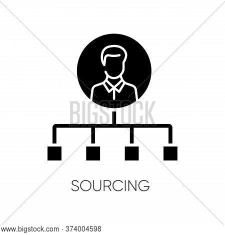 Sourcing Black Glyph Icon. Talent Acquisition, Recruitment Strategy Silhouette Symbol On White Space