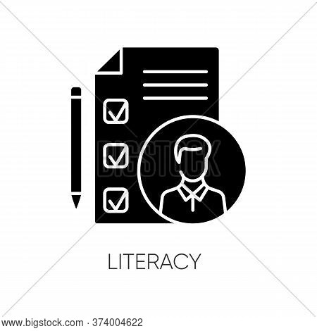 Literacy Black Glyph Icon. Professional Knowledge, Executive Search Silhouette Symbol On White Space