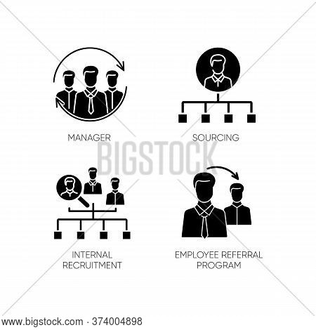 Executive Search Black Glyph Icons Set On White Space. Manager, Sourcing, Internal Recruitment And E