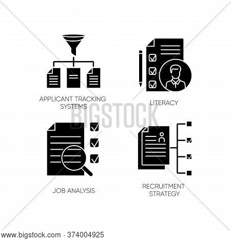 Professional Employment Black Glyph Icons Set On White Space. Applicant Tracking System, Literacy, J