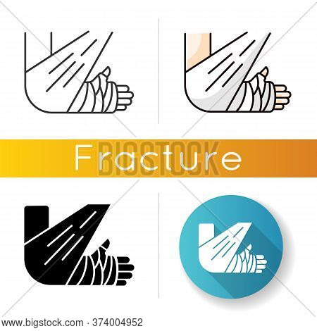 Bone Fracture Icon. Injured Arm In Plaster. Wounded Limb In Bandage. Hurt Elbow. Trauma Treatment. H