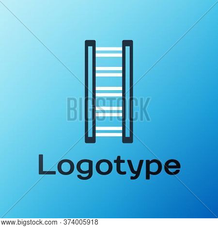 Line Fire Escape Icon Isolated On Blue Background. Pompier Ladder. Fireman Scaling Ladder With A Pol