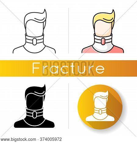 Cervical Fracture Icon. Broken Neck. Human In Neck Brace, Collar. Medical Device. Healthcare. Treatm