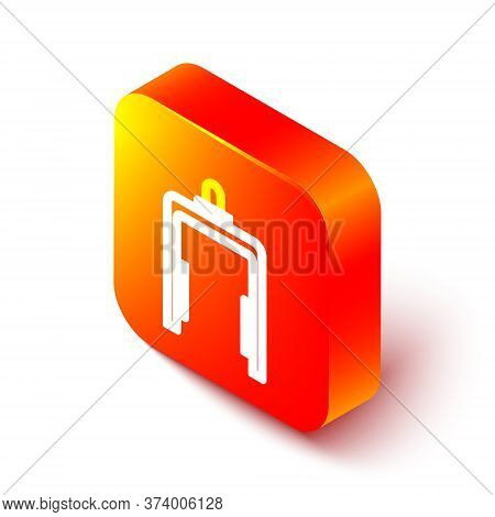 Isometric Line Metal Detector In Airport Icon Isolated On White Background. Airport Security Guard O