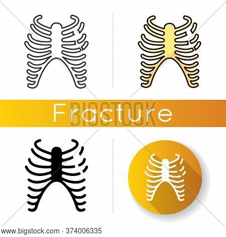Rib Fracture Icon. Chest Injury. Broken Bones. Wounded Rib Cage. Accident. Healthcare. Medical Condi