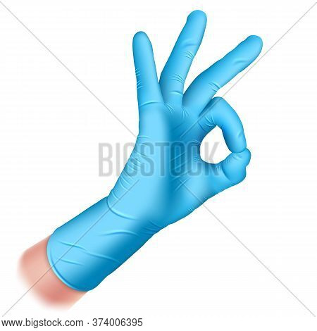Hand In A Rubber Glove Of Blue Color Closeup. Hand Makes Ok Sign. Hand Gesture - Okay. Realistic 3d