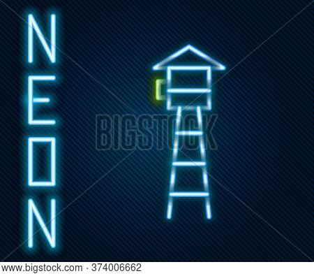 Glowing Neon Line Watch Tower Icon Isolated On Black Background. Prison Tower, Checkpoint, Protectio