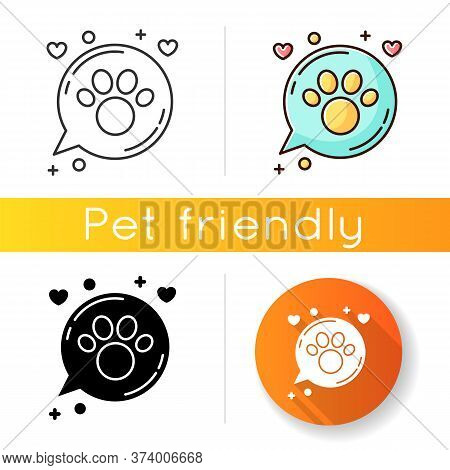 Domestic Animals Friendly Area Icon. Doggy And Kitty Welcome, Pets Allowed Zone, Cats And Dogs Permi