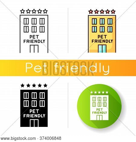 Pet Friendly Motel Exterior Icon. Domestic Animals Welcome Five-star Hotel. Cats And Dogs Permitted