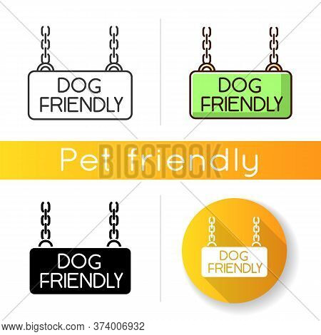 Dog Friendly Territory Icon. Doggy Permitted Zone, Puppies Welcome Terrain. Domestic Animals Allowed
