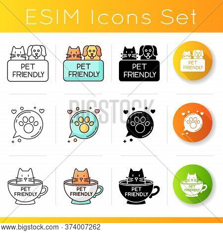 Pet Friendly Emblems Icons Set. Four-legged Friends Allowed Territories, Kitty And Doggy Permitted,