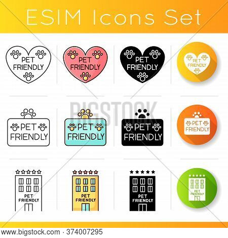 Pet Friendly Service Icons Set. Four-legged Friends Grooming Salon. Domestic Animals Care, Cats And
