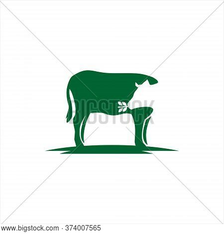 Rganic Farm Cattle Logo Simple Modern Of Standing Cow Vector Fun With Green Color For Otemplate Elem