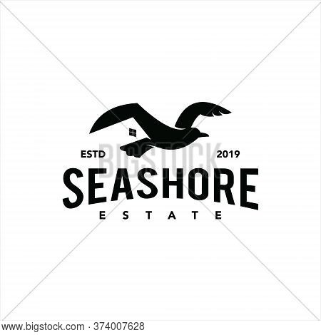 Real Estate Logo Simple Classic Black Retro Company With Seagull Bird Vector Template