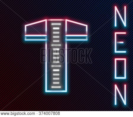 Glowing Neon Line T-square Line For Professional Drafting Icon Isolated On Black Background. Colorfu