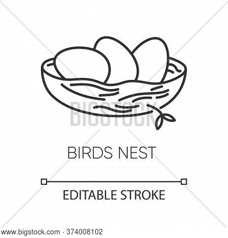 Birds Nest Pixel Perfect Linear Icon. Chick Breeding. Skincare Product Component. Eggs For Easter. T